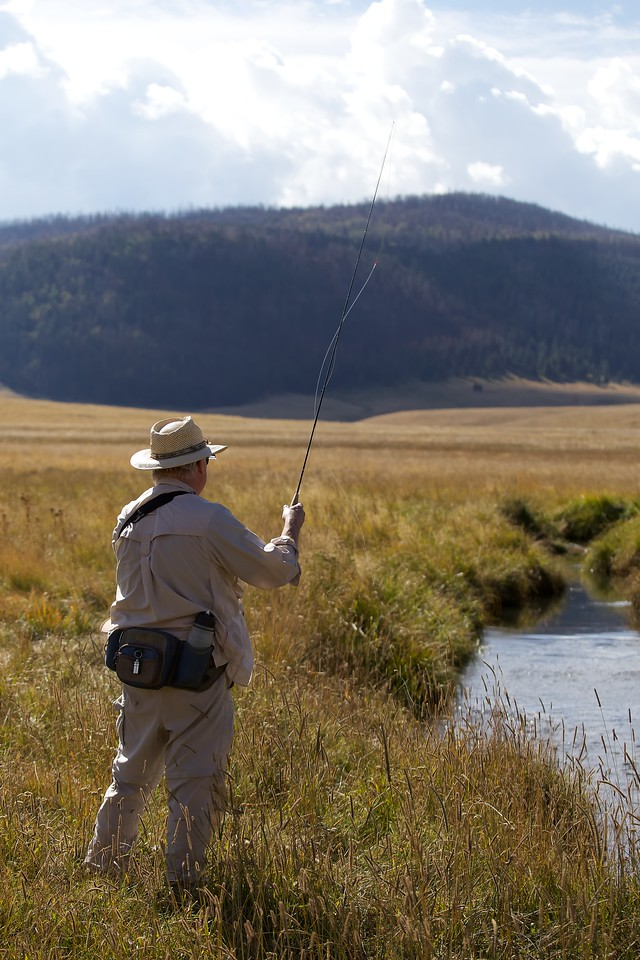 Fly fisherman in the Valles Caldera National Preserve, New Mexico, Sept. 2012.