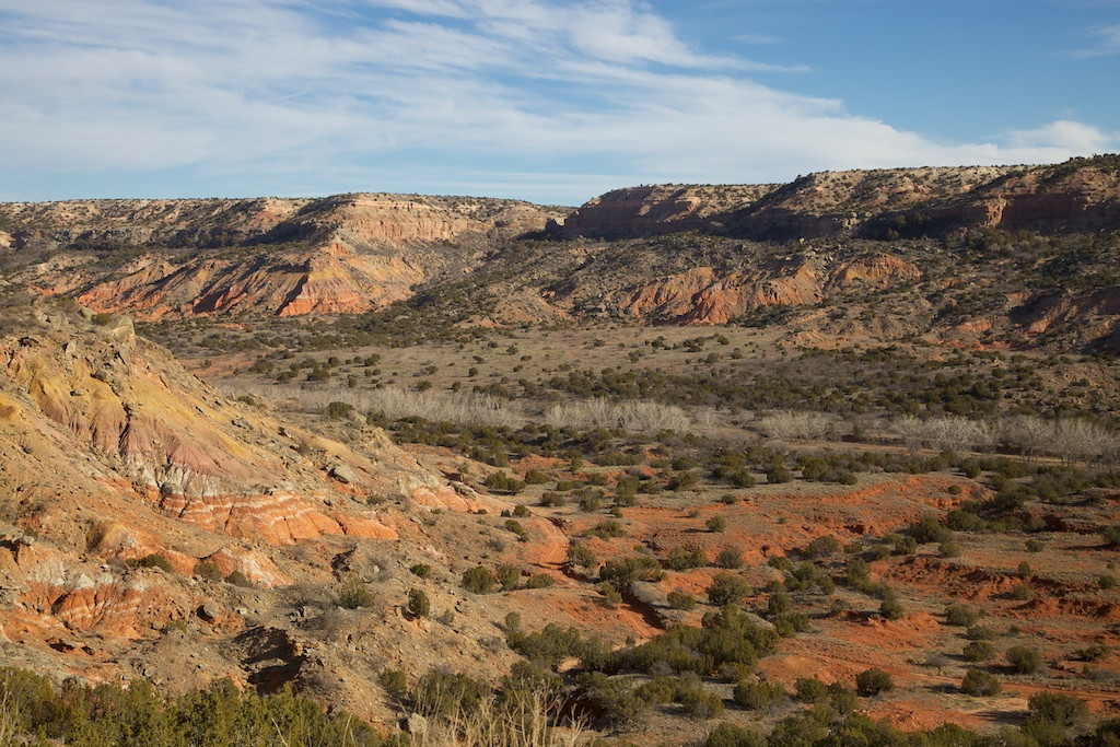 Palo Duro Canyon State Park, Texas. January colors. Most people say that one should have something interesting in the foreground of a landscape shot, and I agree. But this will give the observer and idea of the scale of Palo Duro, the second largest such canyon in the nation (well behind the Grand Canyon, of course).