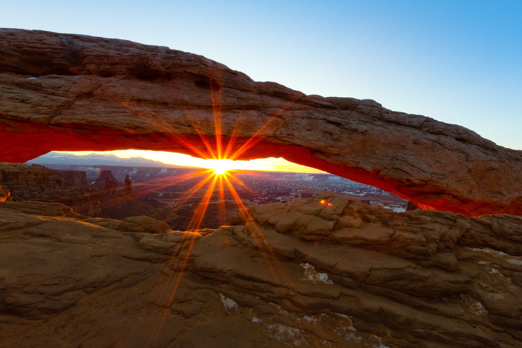 Sunburst at the Mesa Arch at Sunrise.  Canyonlands National Park near Moab, UT.