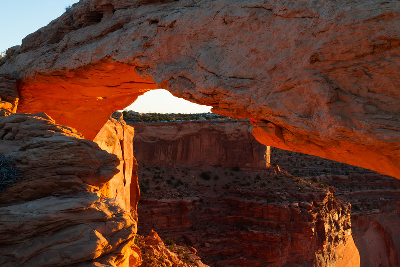 The Mesa Arch at Sunrise. Canyonlands National Park near Moab, UT.