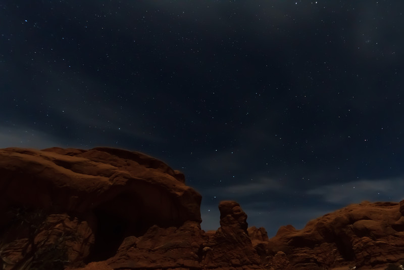 The Big Dipper in Arches National Park, Moab UT under moonlight.<br /> <br /> With a half-moon about an hour after sunset, there was enough moonlight to illuminate the foreground under a soft glow while still allowing the stars to shine through.  It was an amazing night to take photos.