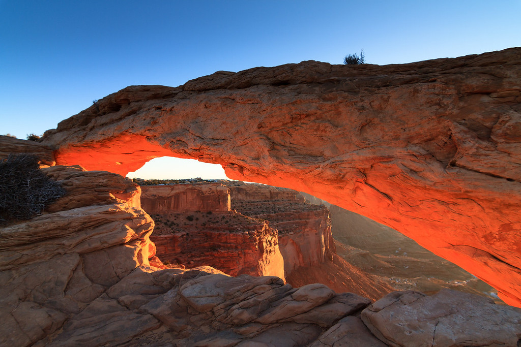 The Mesa Arch at Sunrise.  Canyonlands National Park near Moab, UT.
