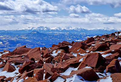 The Sangre de Cristo Mountains form the Pikes Peak Summit