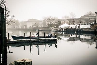 Westhampton Beach, NY in the fog.