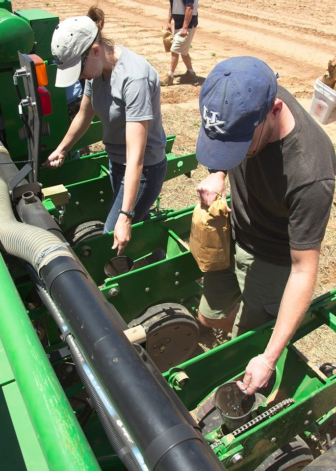 Planting a cotton seed treatment trial, 2017. Small plots mean that we can't use seed boxes, so all seed needs to be dropped by hand. This 16-row planter requires at least eight people to drop seeds while the tractor is moving down the field.