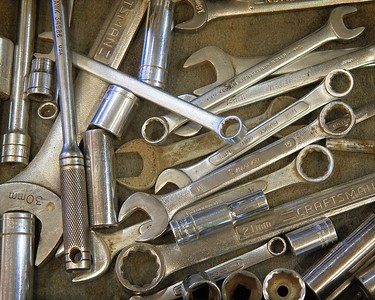 Wrench drawer in tractor shop, Lubbock Experiment Station 2018.