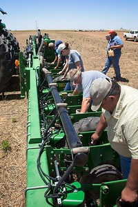 Planting a cotton seed treatment trial, 2017. Small plots mean that we can't use seed boxes, so all seed needs to be dropped by hand. This 16-row planter requires at least eight people to drop seeds.