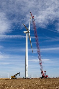 Yet another wind turbine under construction in the Texas Panhandle.