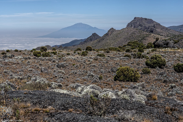 Small hike to the eroded parts of Shira. In the background Mt. Meru