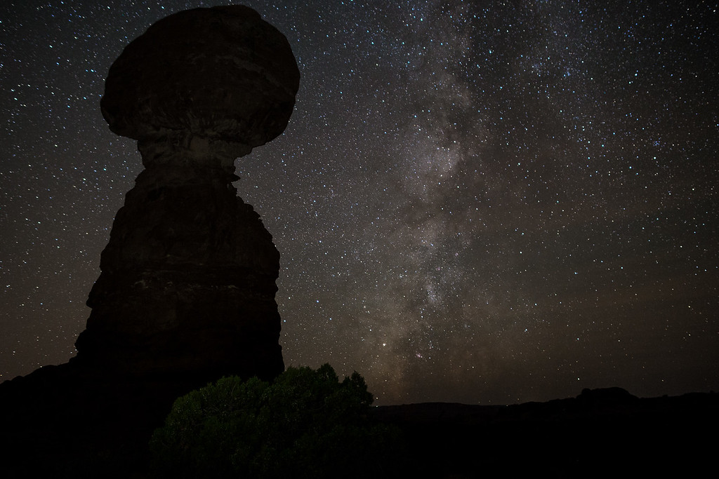 The Milky Way at Balanced Rock -- Arches National Park