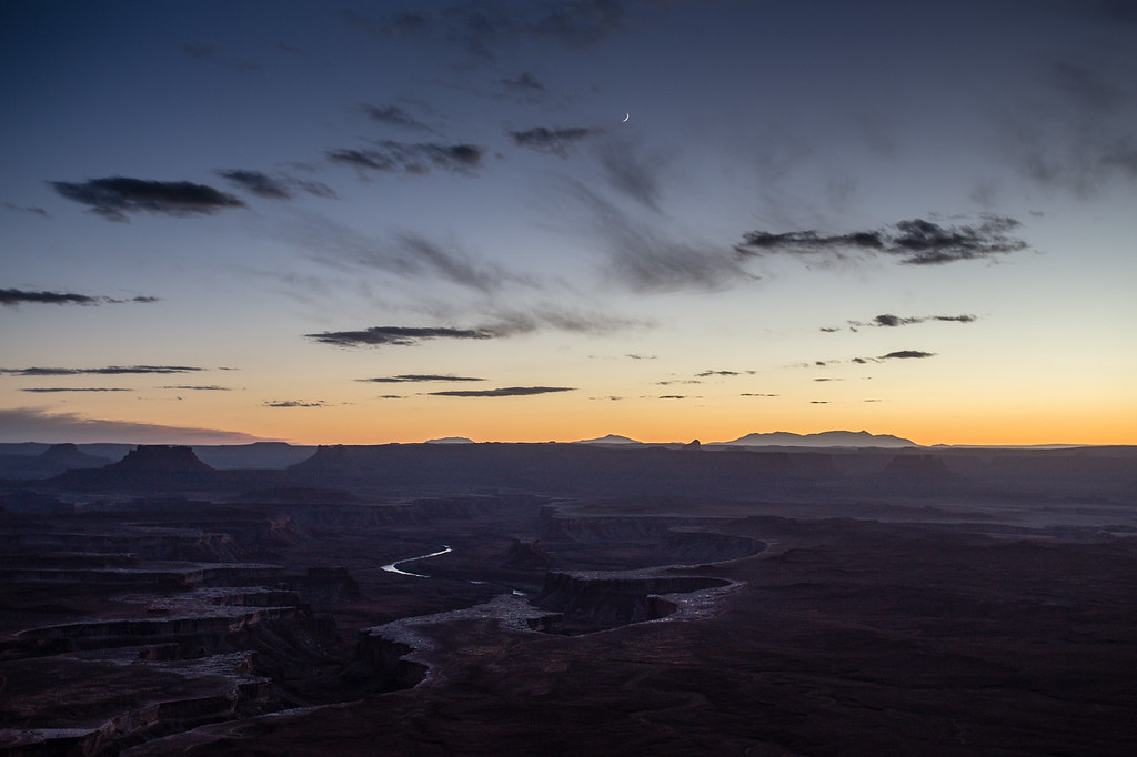Crescent Moon over the Green River Overlook