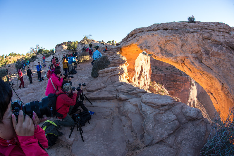 Some of the crowd at the Mesa Arch at Sunrise