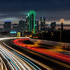 Dallas Skyline with light trails