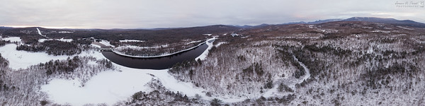 The West Branch of the Penobscot River and Abol Bridge on the Golden Road near Millinocket, Maine taken with a DJI Phantom 4 Pro just before sunrise on February 12, 2017, 06:52. Mt. Katahdin is shrowded in clouds and snow. 21867 x 5467