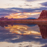 Sunrise on Lake Powell over Dominguez Butte