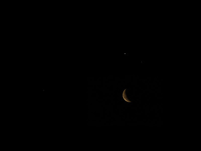 Jupiter, Mars, Moon, and Saturn