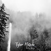 24  G Multnomah Falls and Clouds BW