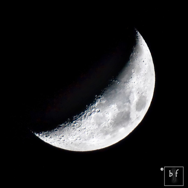 The waxing crescent moon was slightly more than 34% of full at 8:13pm. Photo taken at f/5.6, 600mm (960mm in 35mm), 1/320, ISO 400, mirror lockup enabled.