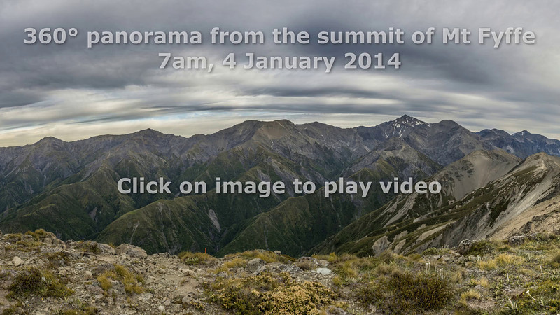 Video: 360 degree panorama from the summit of Mount Fyffe, Kaikoura