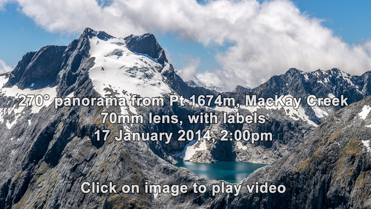 """270° panorama from """"The Watchtower"""" (Pt 1674m), MacKay Creek"""