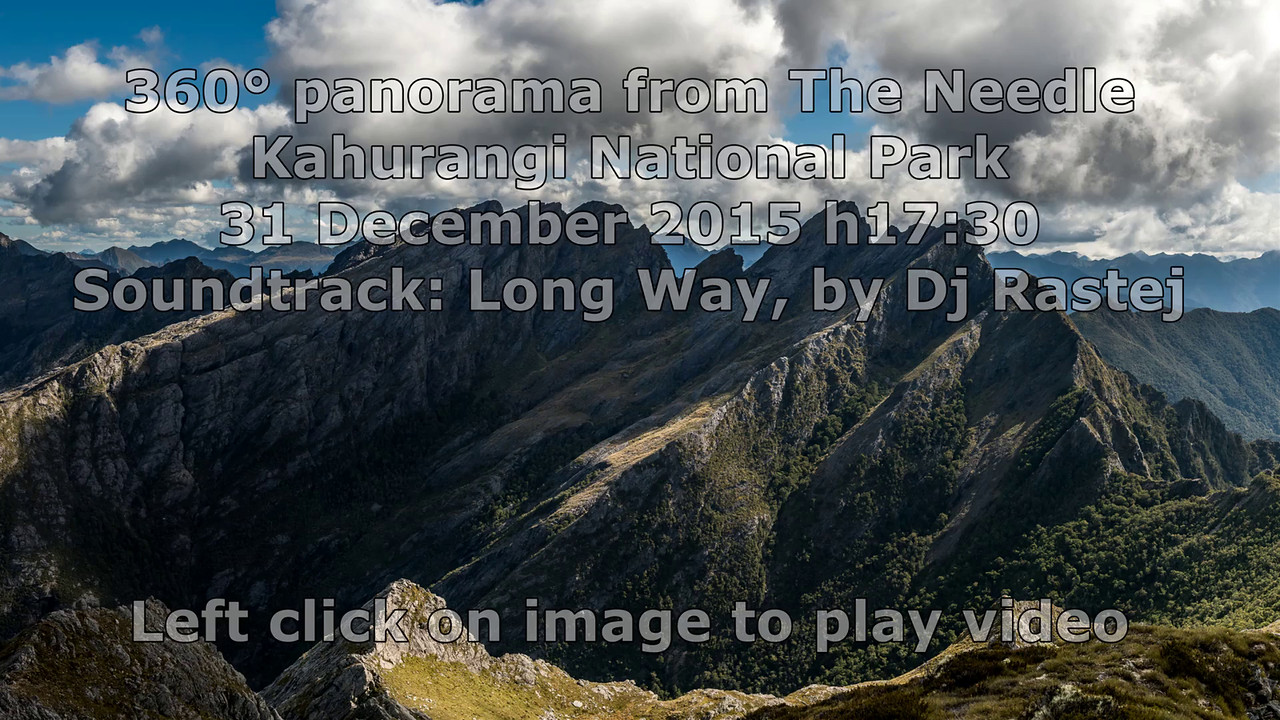 360° panorama from The Needle, Kahurangi National Park
