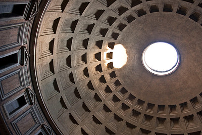 The oculus at the top of the Pantheon lets in light (and everything else) that reflects inside the circular dome.  The Pantheon was a wonder of the ancient city and became Brunelleschi's inspiration for the Duomo in Firenze (Florence).