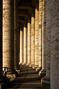 Columns define the boundaries of the Vatican piazza.