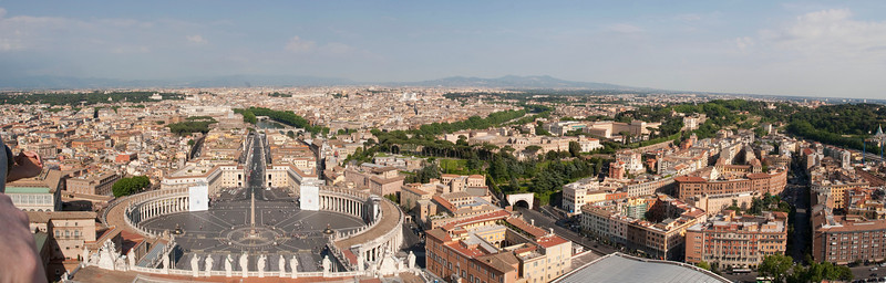 A panoramic view of Rome from the cupola at the top of Saint Peter's Basilica.