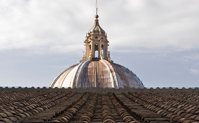 The roof above Saint Peter's rises up toward the dome.
