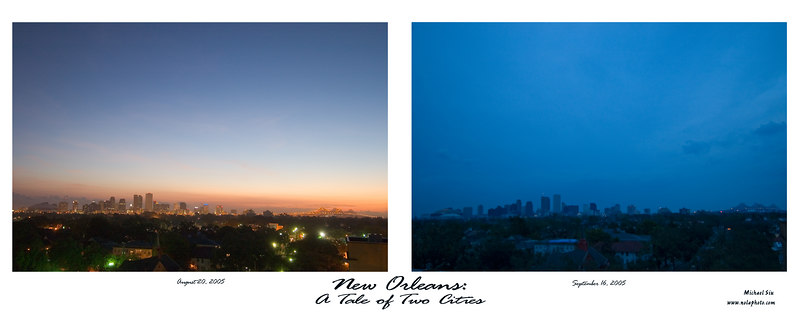 A tale of two cities  new Orleans on August 20th 2005 and again on September 16th 2005.  A Significant Contrast