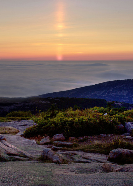 Sunrise through the fog on Cadillac Mountain