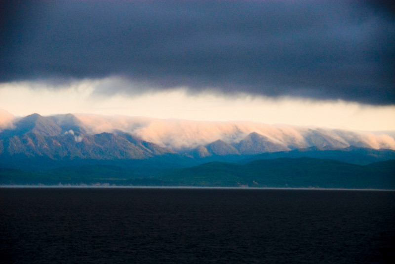 Juan de Fuca Strait at sunset with clouds