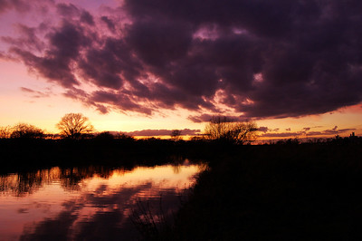 River Witham sunset, the Cathedral on the hill to the right