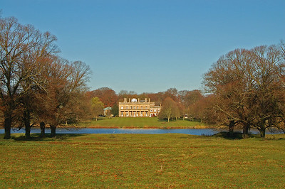 Riseholme Hall across the lake