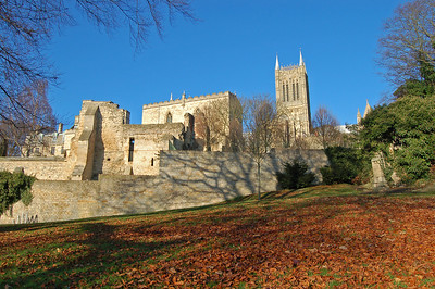 The Bishops Palace and Lincoln Cathedral from Temple Gardens