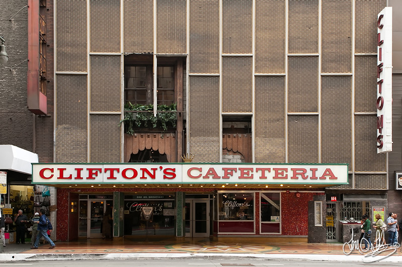 Clifton's Cafeteria • Since 1935<br /> 648 South Broadway •  Los Angeles, CA