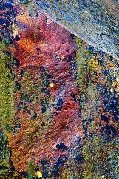 """""""Abstracts in Nature - #1"""" I love looking for hidden art in nature. I captured this at Eagle Falls over looking Emerald Bay in Lake Tahoe. This is a close-up on the face of the falls. Those different color rock textures and the green.... algae! What do you think?!"""