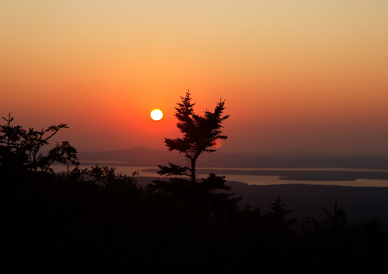 Sunset from top of Cadillac Mountain (toward Blue Hill)