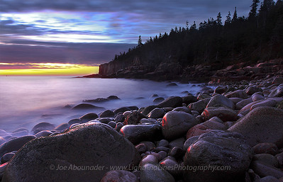 Purple Beach. October 2011. Otter Cliffs, Acadia National Park, maine. Taken shortly before sunrise. The effect on the water is produced by a 15 second exposure to blur out the waves.