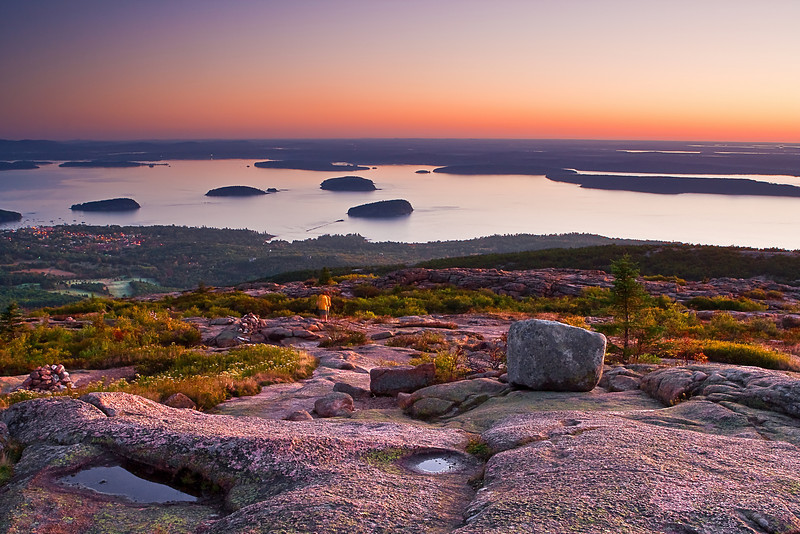 Maine, Acadia National Park, Coastline , Cadillac mountain, Porcupine  islands,  Sunrise, Landscape, 缅因, 阿卡迪亚国家公园 秋色 风景