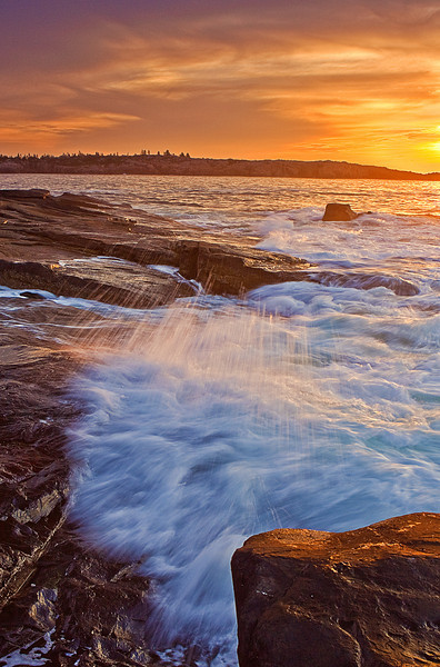 Maine, Acadia National Park, Schoodic Peninsula,  Rock, Sunrise, Landscape, 缅因, 阿卡迪亚国家公园 海岸 风景