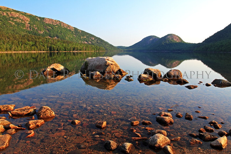The Bubble Mountains and Jordan Pond at sunrise on a summer day, Acadia National Park, Maine.