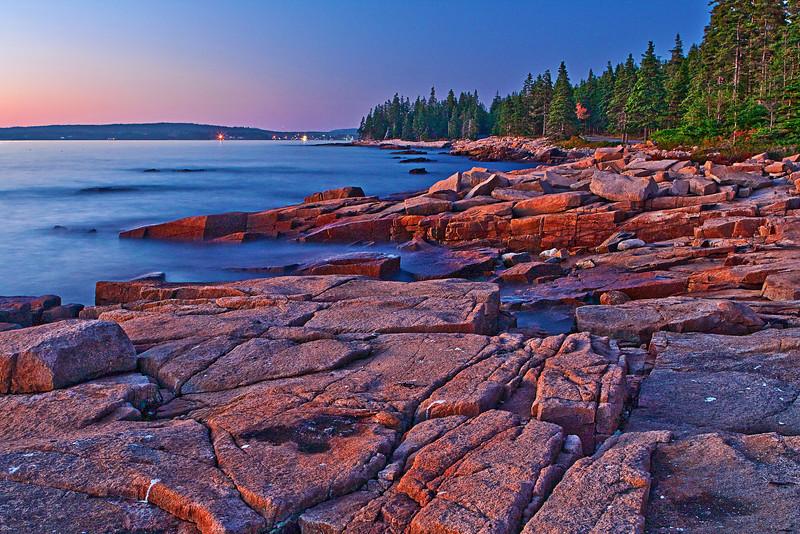 Maine, Acadia National Park, Schoodic Peninsula,  Rock, Sunset, Landscape, 缅因, 阿卡迪亚国家公园 海岸 风景