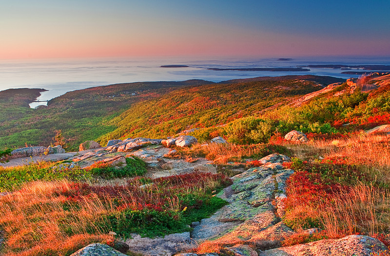 Maine, Acadia National Park, Coastline , Cadillac mountain, Fall Colors, Sunrise, Landscape, 缅因, 阿卡迪亚国家公园 秋色 风景