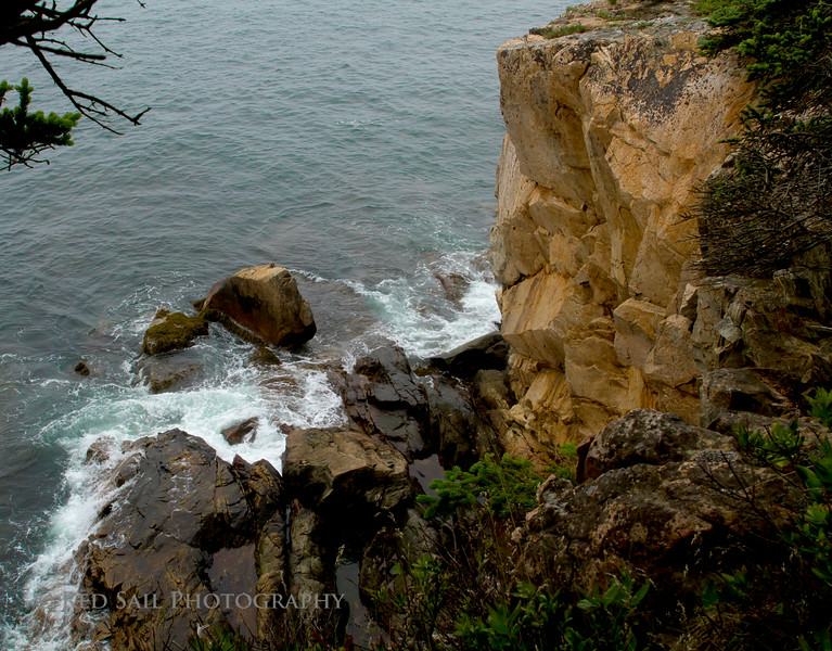 """""""Raven's Nest"""" Acadia National Park at Schoodic Peninsula.. Looking down from the rocky bluff."""