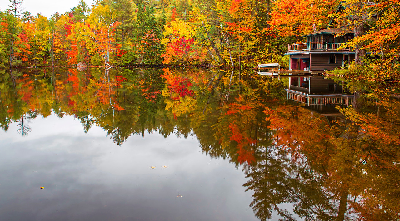 Adirondack, Fall Colors, Lack Placid, New York, Saranac River, 普莱西德湖, 纽约州, 阿迪那达克,秋色