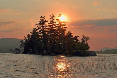 Early morning sunrise on Raquette Lake.