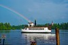 DEAN POHL GETS A SPECIAL GIFT FROM GOD, A RAINBOW STARTING FROM HIS BOAT THE WW DURANT, RAQUETTE LAKE, N.Y.