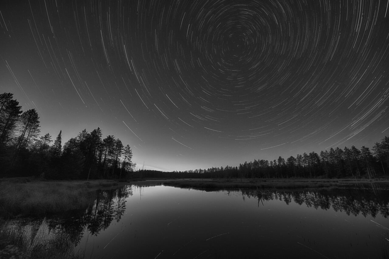 Star Trails in Franklin County.  Grass Pond north of Loon Lake, NY