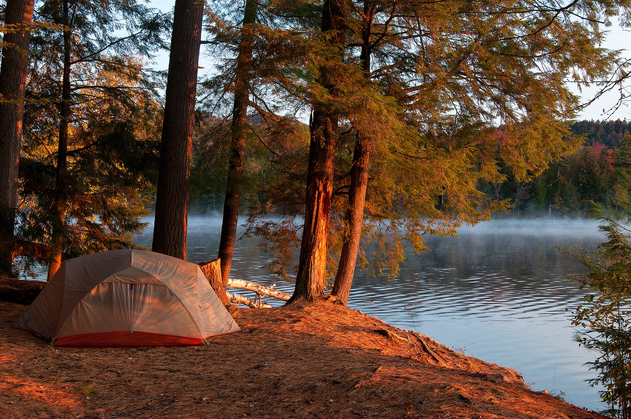 October 6 - Early morning light on my tent on St. Regis Pond.  The weather has changed for the better.